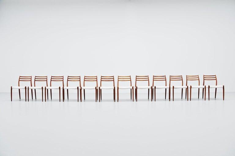 Scandinavian Modern Niels Møller Model 78 Dining Chairs in Teak 12, Denmark, 1962 For Sale
