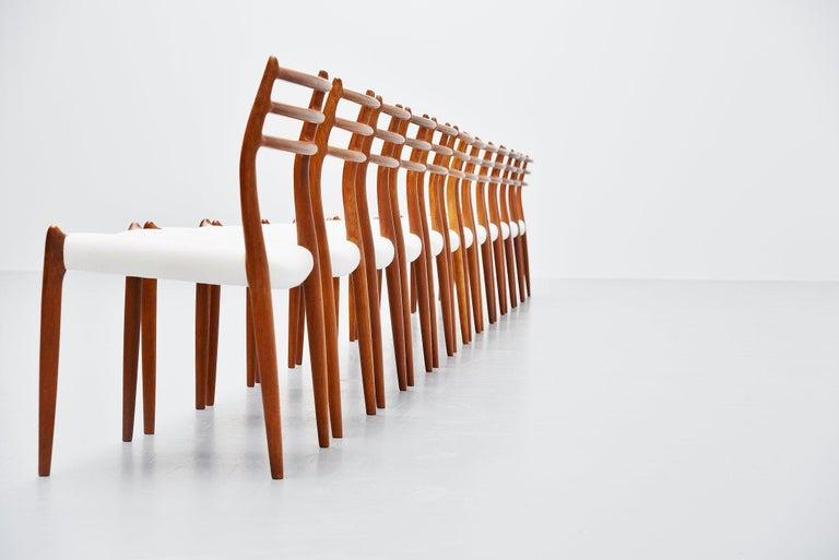 Danish Niels Møller Model 78 Dining Chairs in Teak 12, Denmark, 1962 For Sale