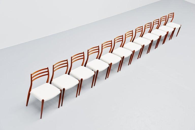 Niels Møller Model 78 Dining Chairs in Teak 12, Denmark, 1962 In Good Condition For Sale In Roosendaal, Noord Brabant