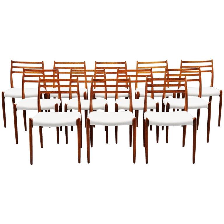 Niels Møller Model 78 Dining Chairs in Teak 12, Denmark, 1962 For Sale