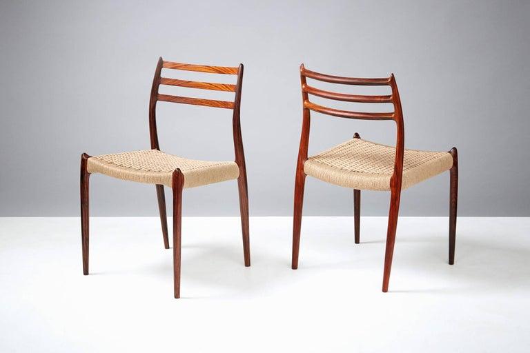 Scandinavian Modern Niels Møller Model 78 Rosewood Papercord Chairs For Sale