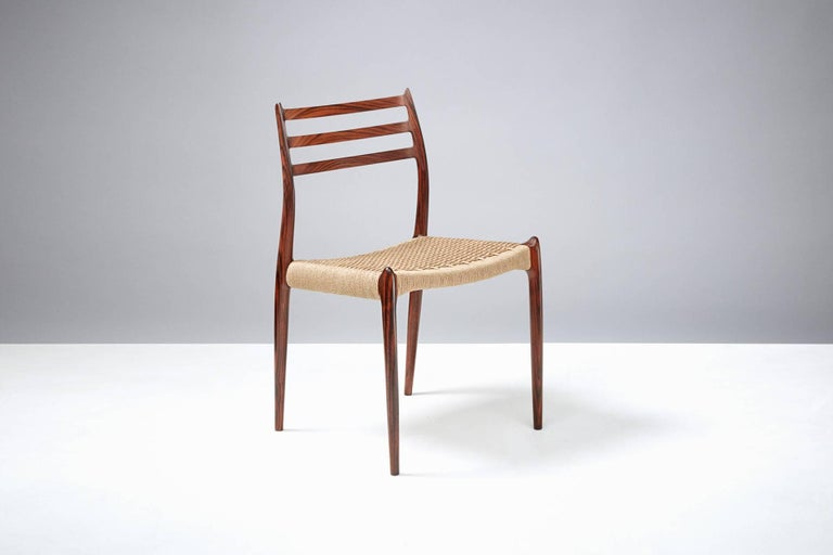 Danish Niels Møller Model 78 Rosewood Papercord Chairs For Sale