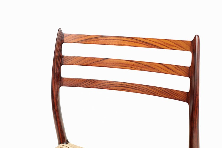 Niels Møller Model 78 Rosewood Papercord Chairs In Excellent Condition For Sale In London, GB