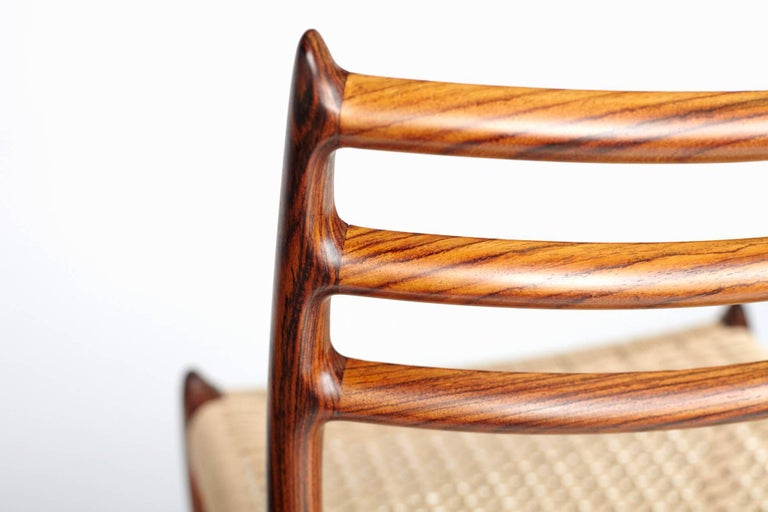 Mid-20th Century Niels Møller Model 78 Rosewood Papercord Chairs For Sale