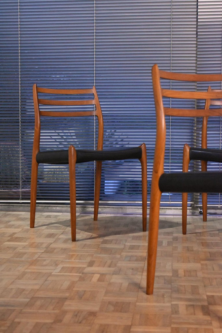 Niels Moller Model 78 Teak Dining Chairs for J L Mollers Mobelfabrik For Sale 6