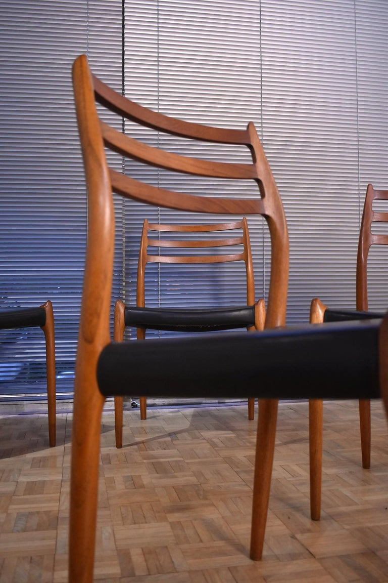 Niels Moller Model 78 Teak Dining Chairs for J L Mollers Mobelfabrik For Sale 7