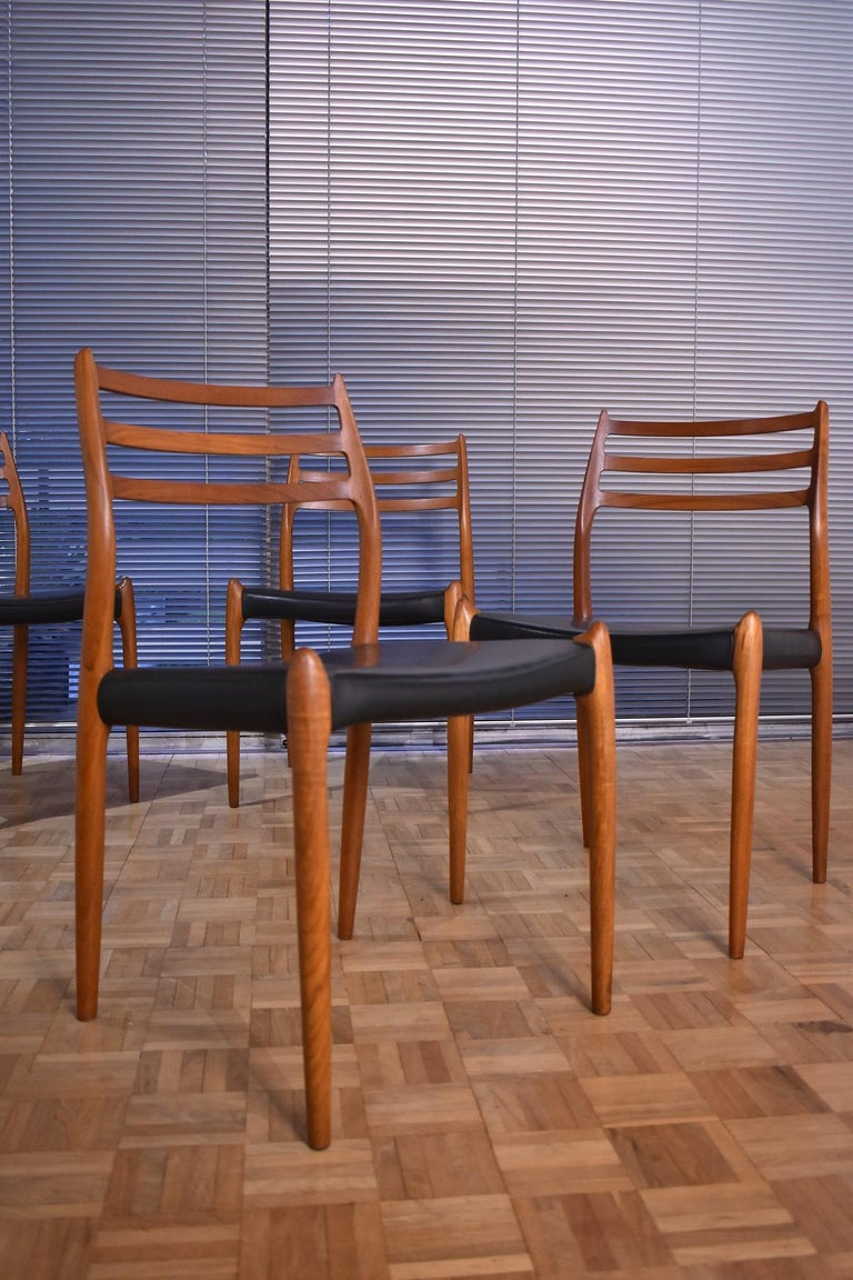 Niels Moller Model 78 Teak Dining Chairs for J L Mollers Mobelfabrik For Sale 8