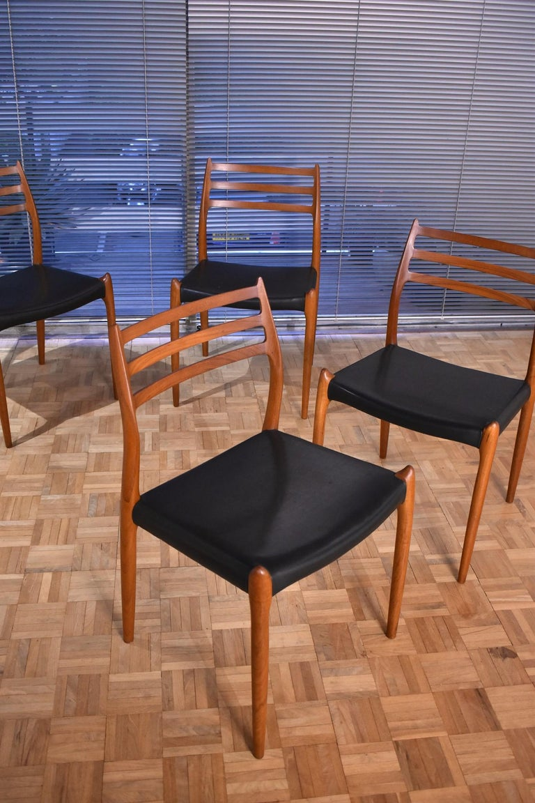 Niels Moller Model 78 Teak Dining Chairs for J L Mollers Mobelfabrik For Sale 9