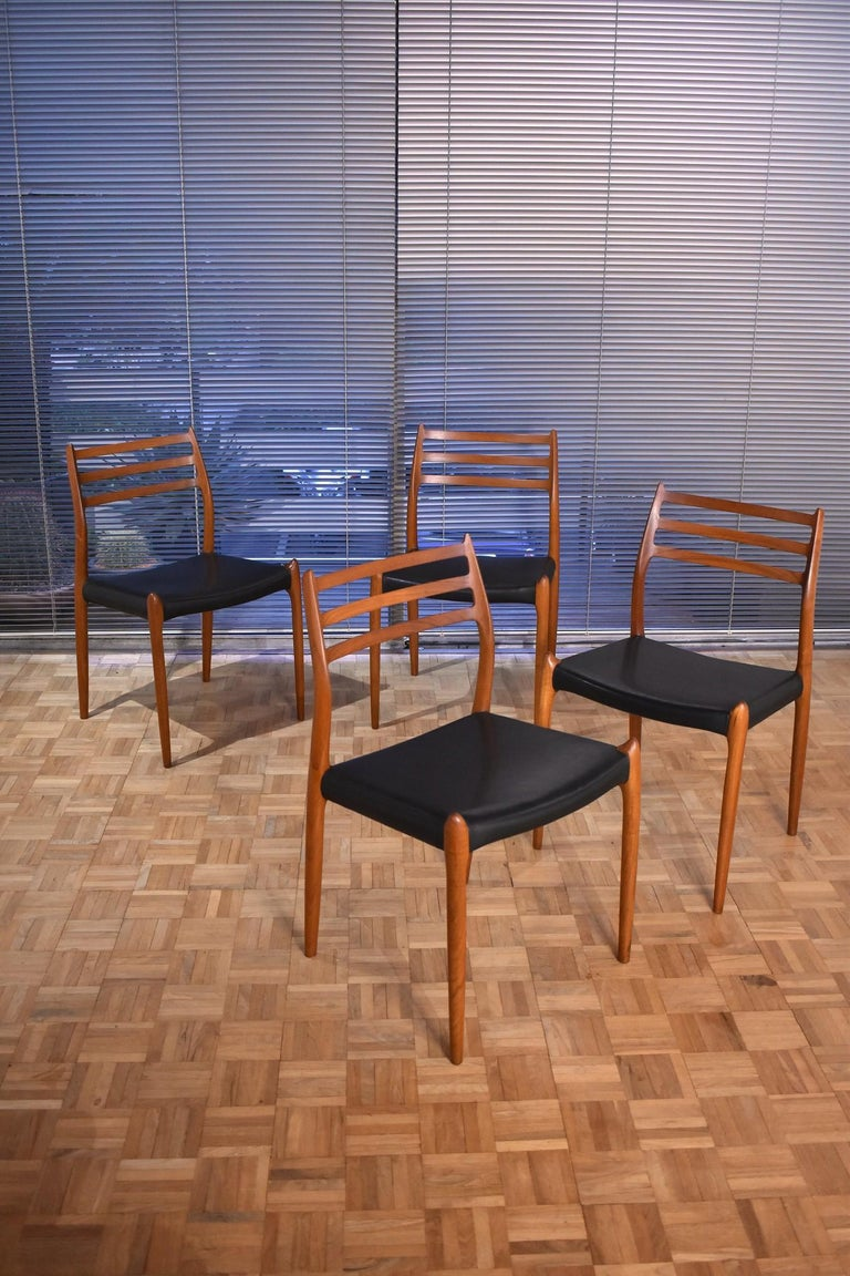Niels Moller Model 78 Teak Dining Chairs for J L Mollers Mobelfabrik For Sale 10