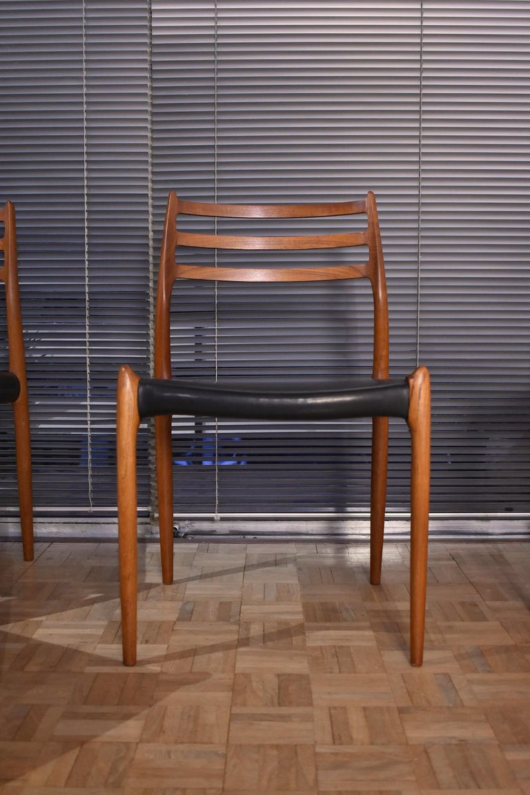 Scandinavian Modern Niels Moller Model 78 Teak Dining Chairs for J L Mollers Mobelfabrik For Sale