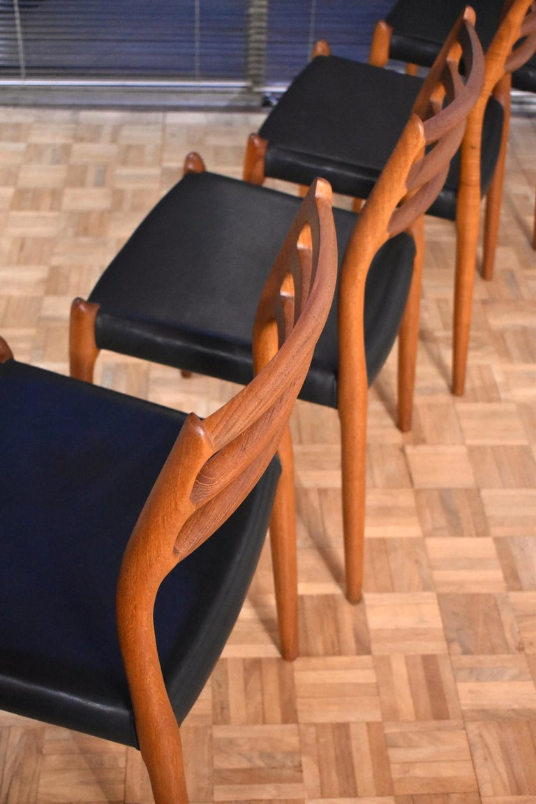 Niels Moller Model 78 Teak Dining Chairs for J L Mollers Mobelfabrik In Good Condition For Sale In Shepperton, Surrey