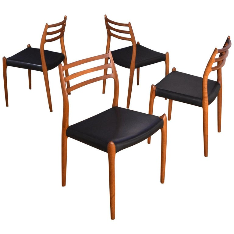 Niels Moller Model 78 Teak Dining Chairs for J L Mollers Mobelfabrik For Sale