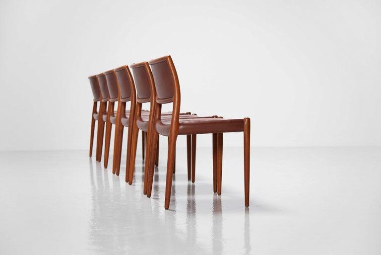 Scandinavian Modern Niels Moller Model 80 teak chairs 6x Denmark 1966 For Sale