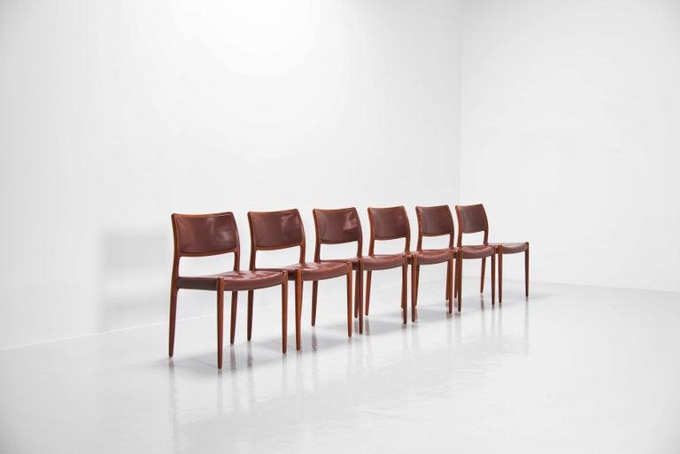 Danish Niels Moller Model 80 teak chairs 6x Denmark 1966 For Sale