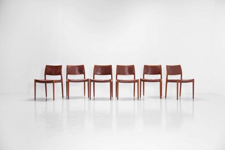 Mid-20th Century Niels Moller Model 80 teak chairs 6x Denmark 1966 For Sale