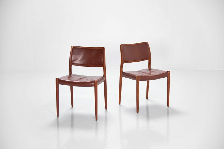 Leather Niels Moller Model 80 teak chairs 6x Denmark 1966 For Sale