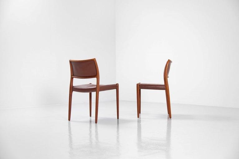 Niels Moller Model 80 teak chairs 6x Denmark 1966 For Sale 1