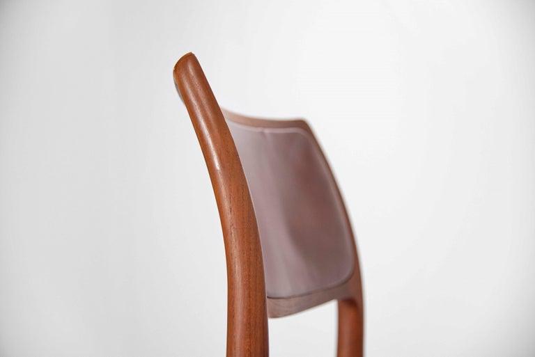 Niels Moller Model 80 teak chairs 6x Denmark 1966 For Sale 2