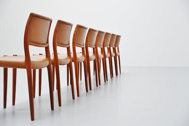 Scandinavian Modern Niels Moller Model 80 Teak Chairs 8x Denmark 1966 For Sale