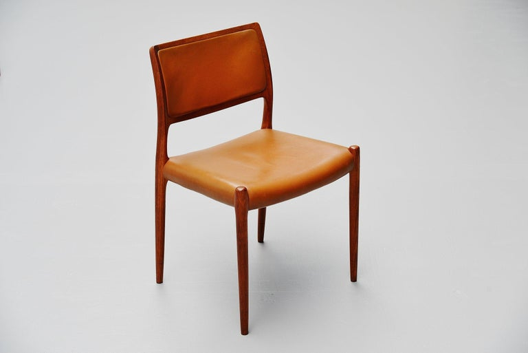 Niels Moller Model 80 Teak Chairs 8x Denmark 1966 In Good Condition For Sale In Roosendaal, Noord Brabant