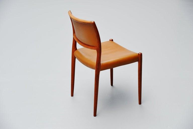 1960s Niels Moller Model 80 Teak Chairs 8x Denmark 1966 For Sale