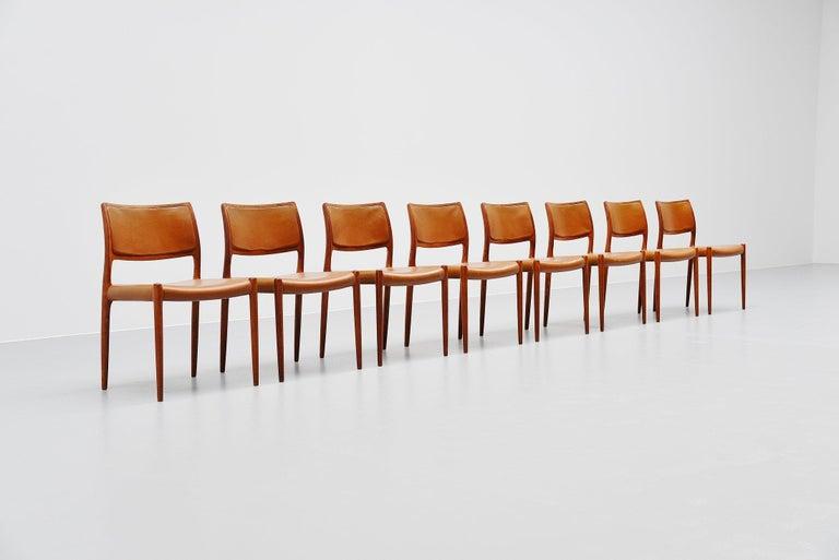 Niels Moller Model 80 Teak Chairs 8x Denmark 1966 For Sale 1