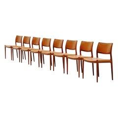 Niels Moller Model 80 Teak Chairs 8x Denmark 1966