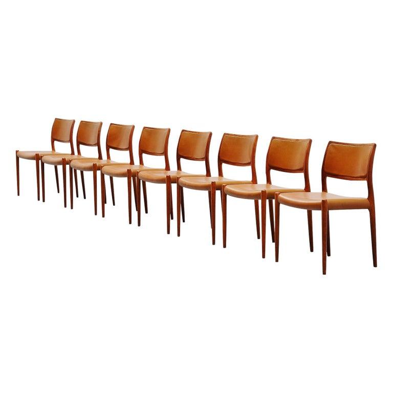 Niels Moller Model 80 Teak Chairs 8x Denmark 1966 For Sale