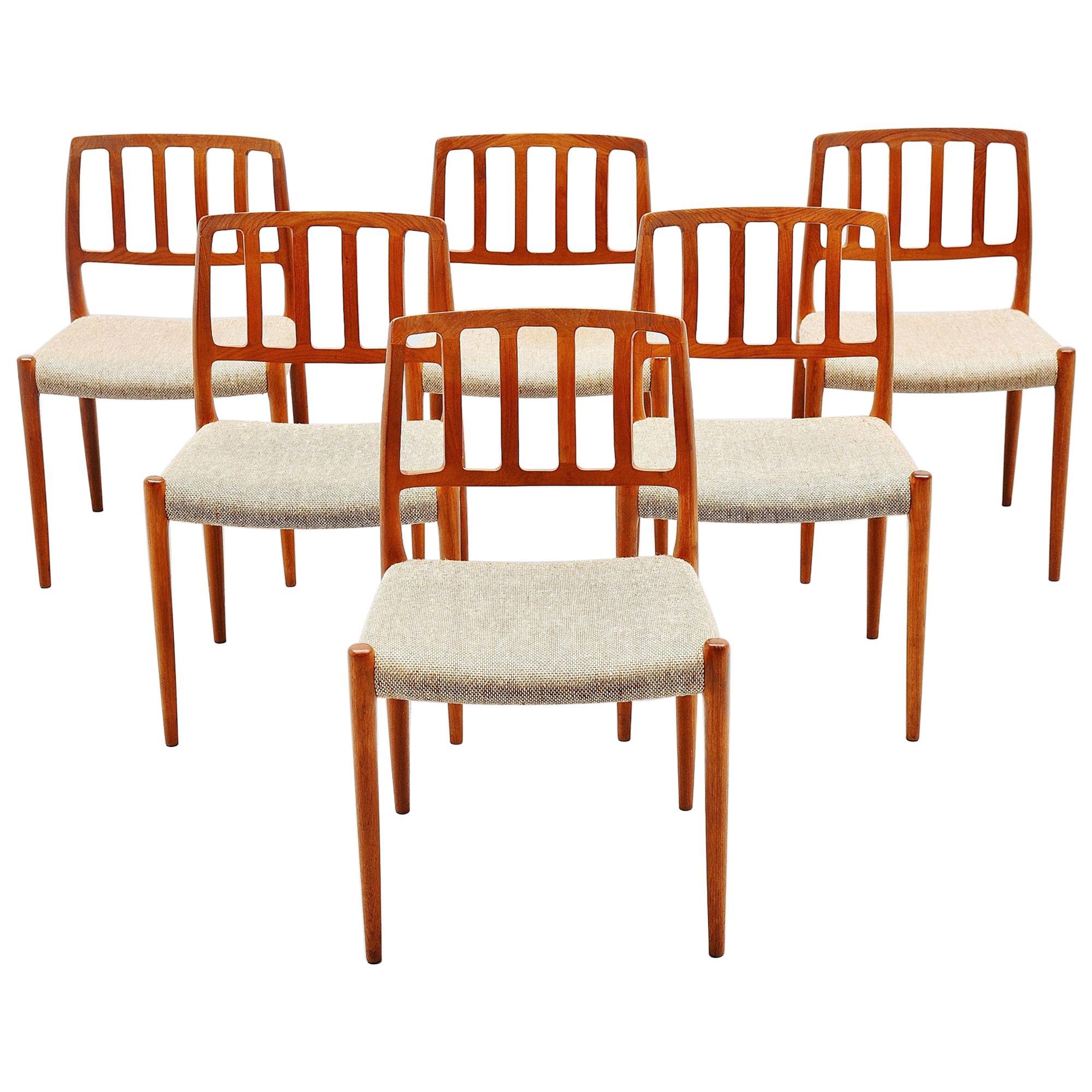 Niels Moller Model 83 Teak Dining Chairs, Denmark, 1974