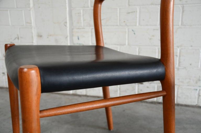 Niels Möller Modell 75 Danish Teak Dining Leather Chair for J.L. Möllers 5