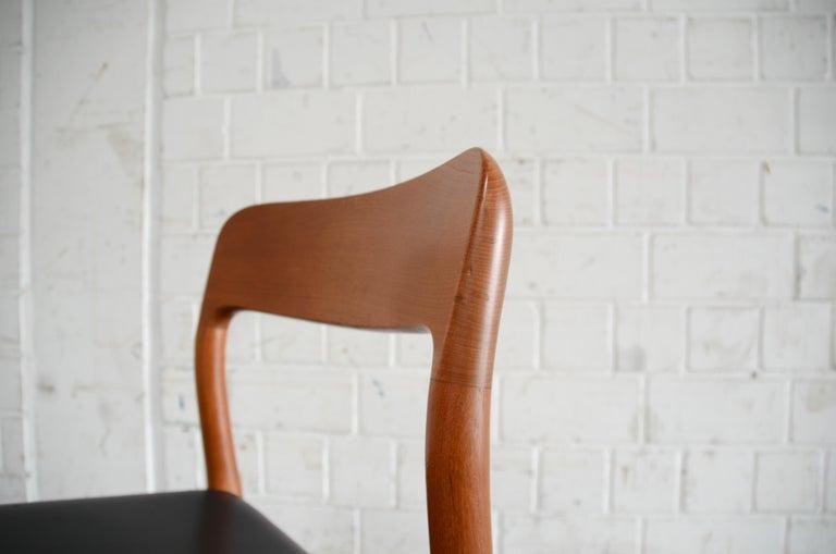 Niels Möller Modell 75 Danish Teak Dining Leather Chair for J.L. Möllers 7