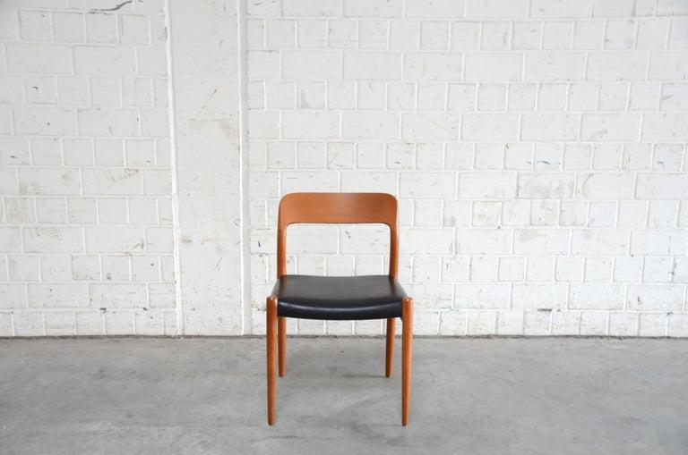 Scandinavian Modern Niels Möller Modell 75 Danish Teak Dining Leather Chair for J.L. Möllers