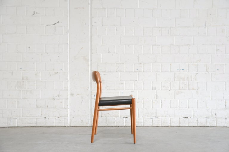 Niels Möller Modell 75 Danish Teak Dining Leather Chair for J.L. Möllers 1