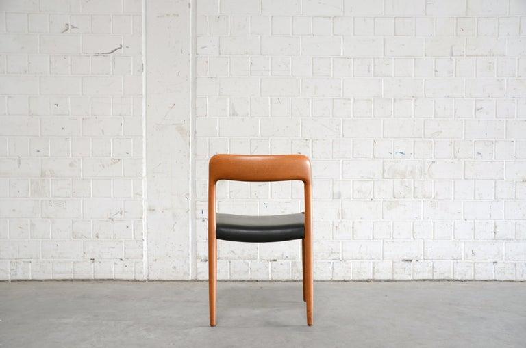 Niels Möller Modell 75 Danish Teak Dining Leather Chair for J.L. Möllers 2