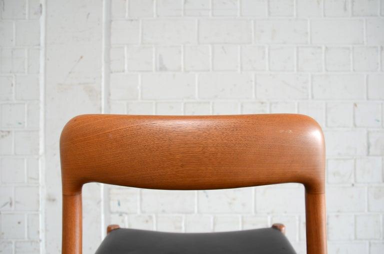 Niels Möller Modell 75 Danish Teak Dining Leather Chair for J.L. Möllers 3