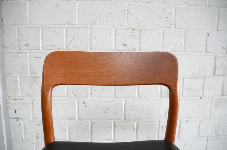 Niels Möller Modell 75 Danish Teak Dining Leather Chair for J.L. Möllers 4