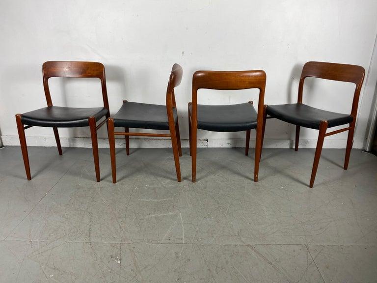 Scandinavian Modern Niels Möller Modell 75 Danish Teak Dining Leather Chair for J.L. Möllers For Sale