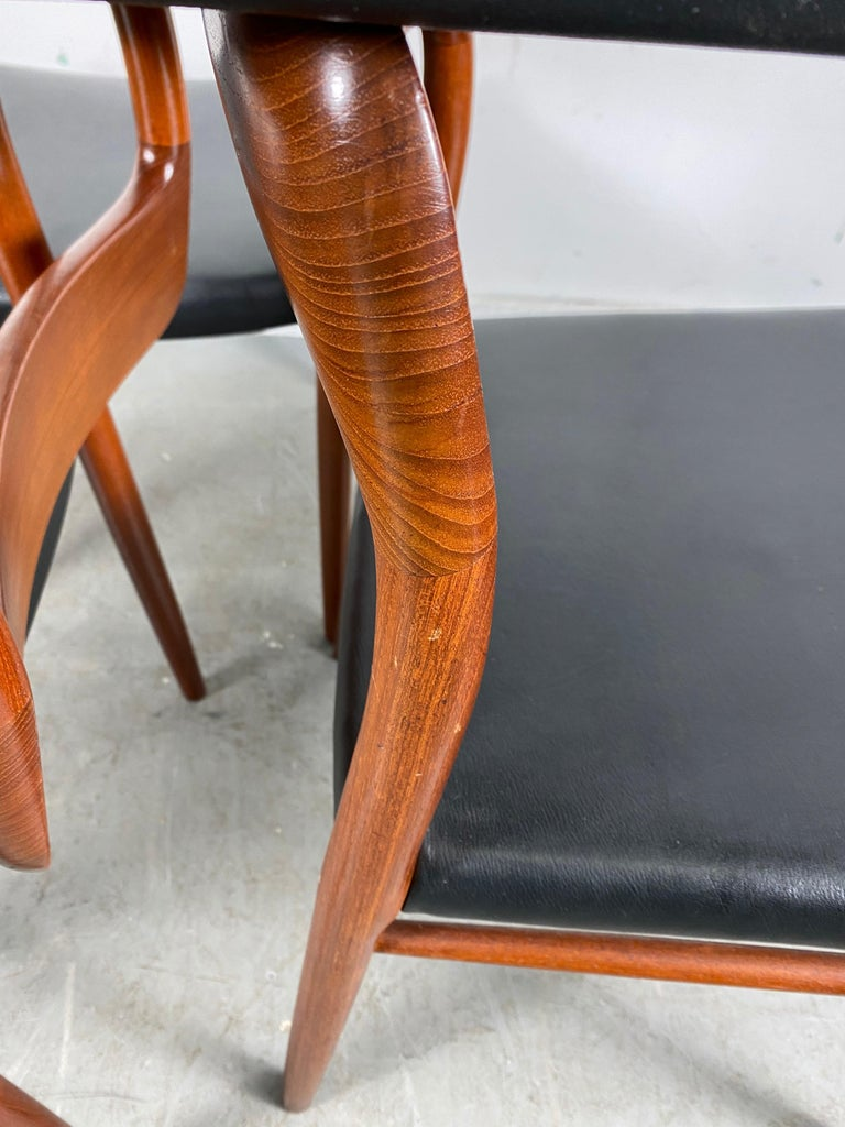 Mid-20th Century Niels Möller Modell 75 Danish Teak Dining Leather Chair for J.L. Möllers For Sale
