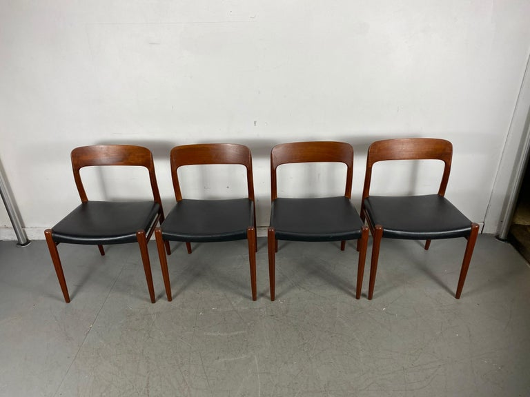 Niels Möller Modell 75 Danish Teak Dining Leather Chair for J.L. Möllers For Sale 1