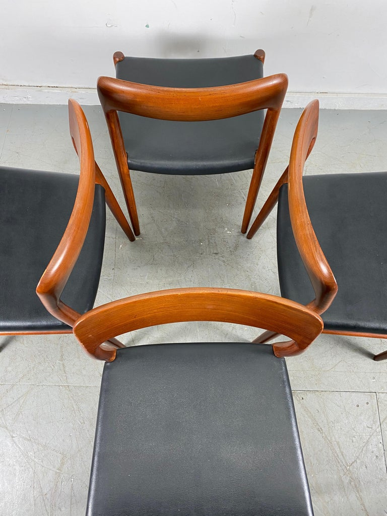Niels Möller Modell 75 Danish Teak Dining Leather Chair for J.L. Möllers For Sale 2