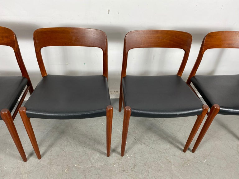 Niels Möller Modell 75 Danish Teak Dining Leather Chair for J.L. Möllers For Sale 4