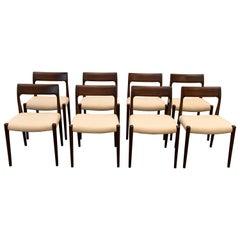 Niels Moller No. 77 Rosewood Set Chairs, Modern Scandinavia, 1970