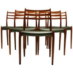 Niels Moller Teak Model 78 Dining Chairs Scandinavian Modern Denmark Midcentury