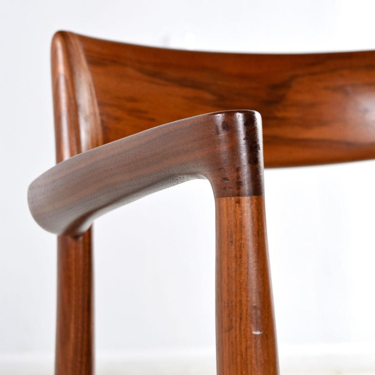 Niels Moller Walnut Armchair #57 Black Leather - Made in Denmark For Sale 2