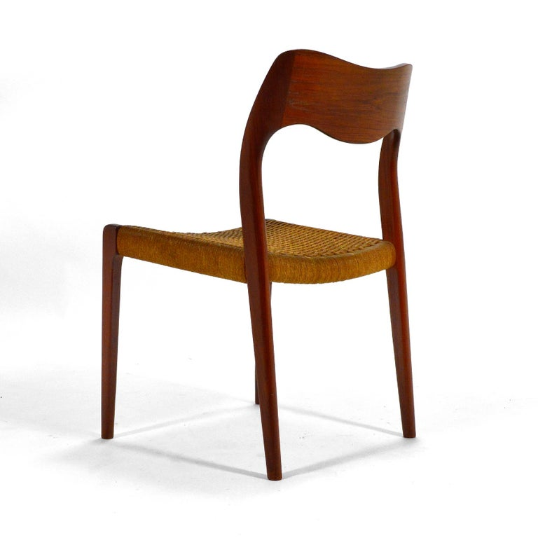 Papercord Niels O. Møller Dining Chairs Model 71 by J.L. Møllers Møbelfabrik For Sale
