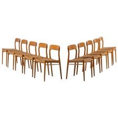 Niels O. Møller dining chairs model 75 by J.L Møllers møbelfabrik in Denmark