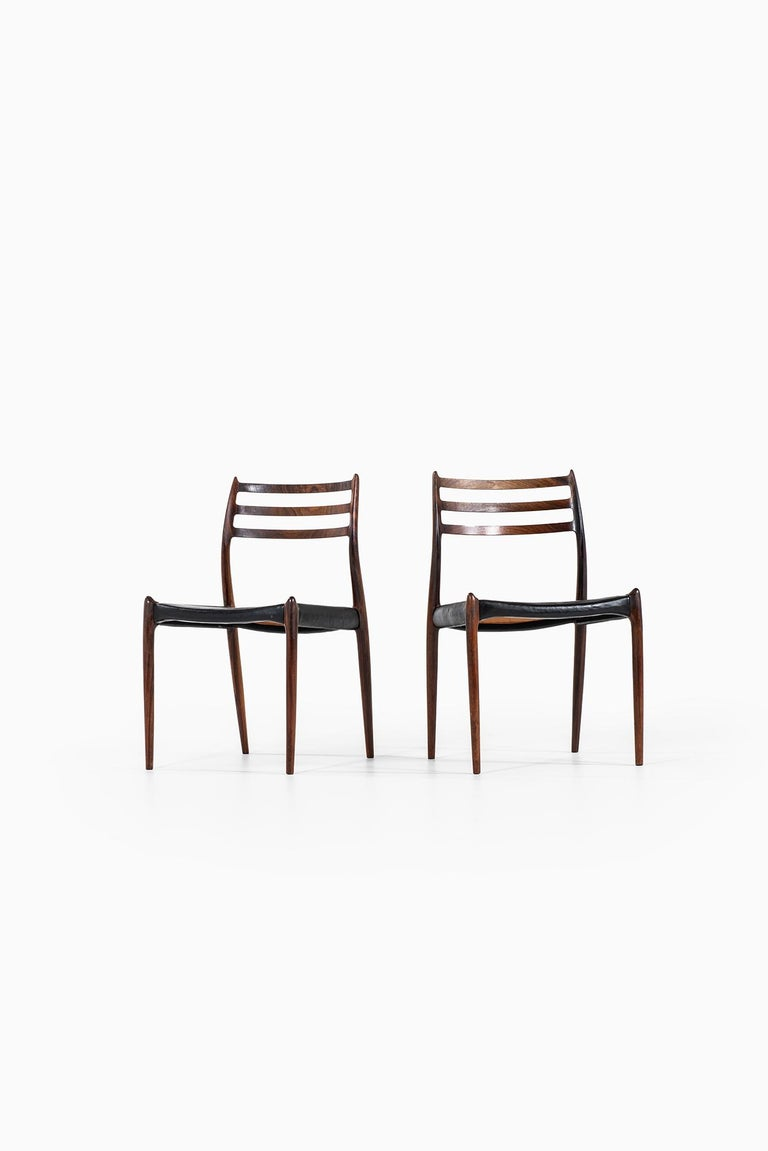 Rare set of 16 dining chairs model 78 designed by Niels O. Møller. Produced by J.L Møllers møbelfabrik in Denmark.