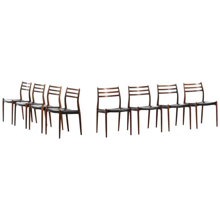 Niels O. Møller Dining Chairs Model 78 by J.L Møllers Møbelfabrik in Denmark For Sale