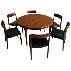 Niels O. Møller Dining Table Set with Six Møller Chairs No. 77 Made in Denmark