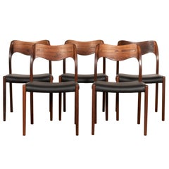 Niels O. Møller Model 71 Dining Chair in Brazilian Rosewood and Black Leather